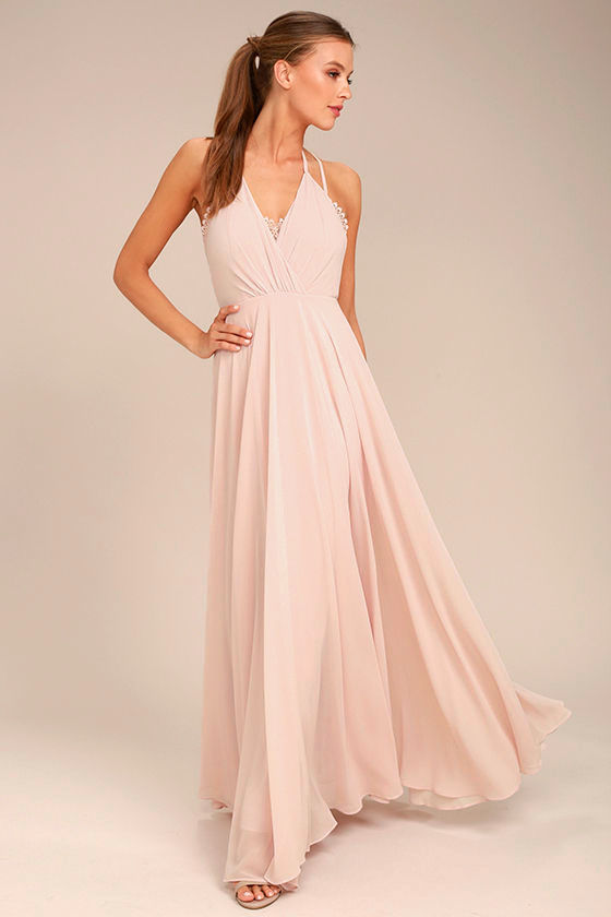 Celebrate the Moment Blush Lace Maxi Dress 1