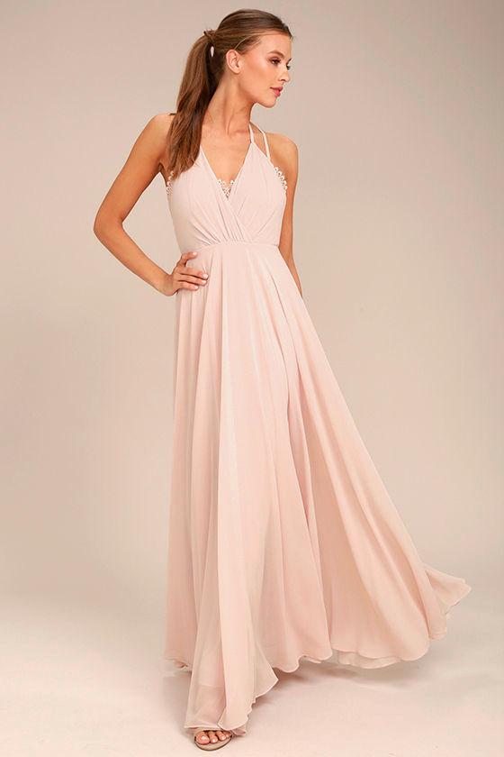Celebrate the Moment Blush Lace Maxi Dress 1
