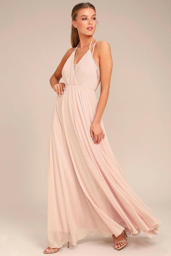 Celebrate the Moment Blush Lace Maxi Dress 2