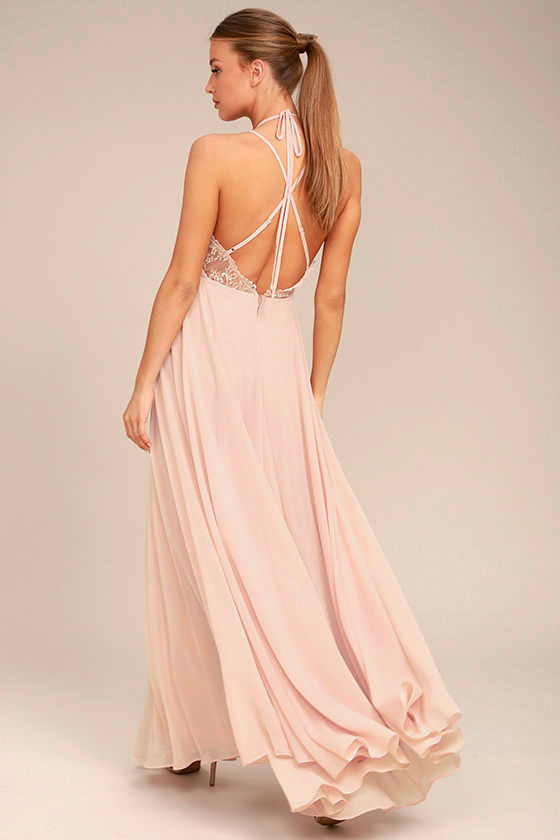 Celebrate the Moment Blush Lace Maxi Dress 3