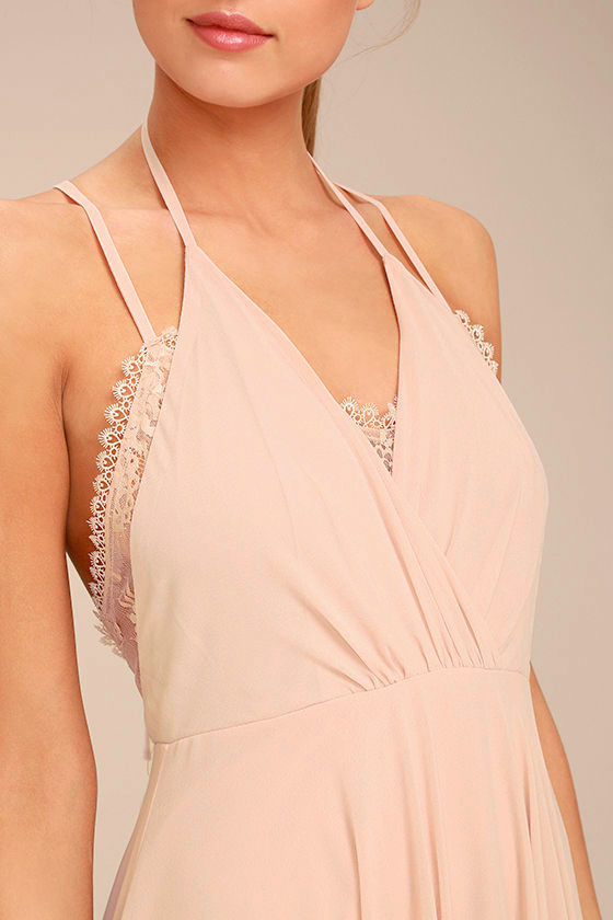 Celebrate the Moment Blush Lace Maxi Dress 4