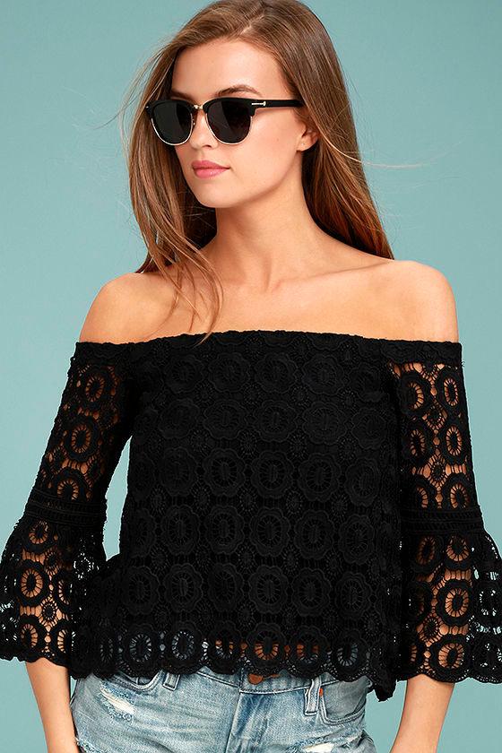 Fun Black Top Crochet Top Off The Shoulder Top Bell Sleeve Top