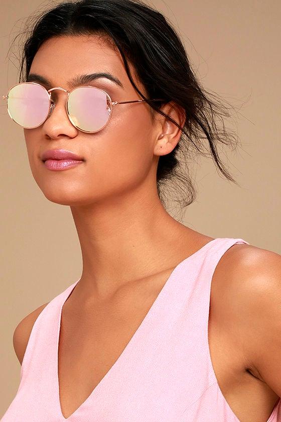 dbec1495a4a43 Cute Rose Gold Sunglasses - Pink Mirrored Sunglasses - Rounded Sunglasses -   15.00