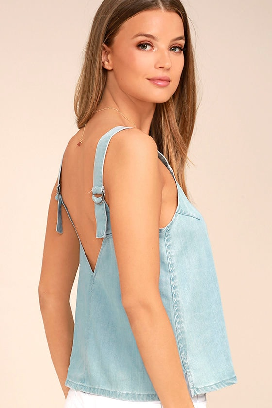 RVCA Musing Blue Chambray Top 1