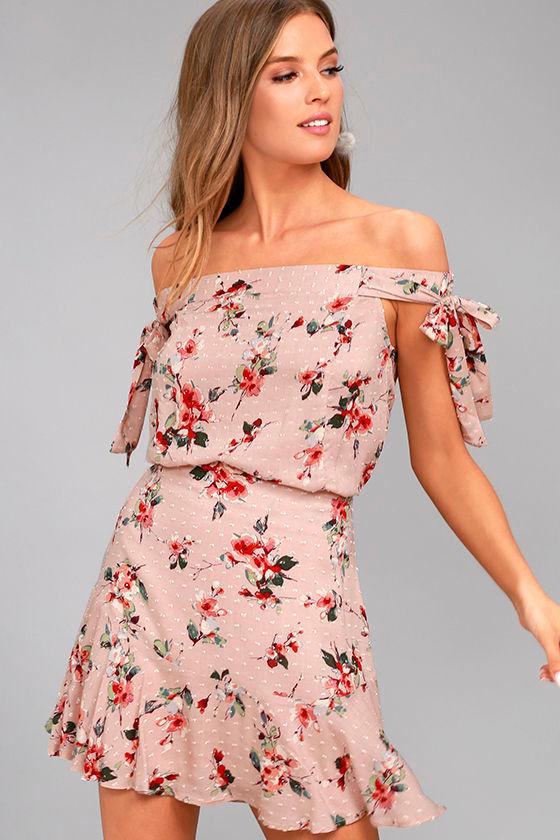 Lost + Wander Serra Blush Pink Floral Print Skirt 1