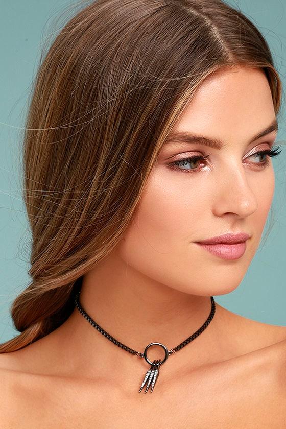 Tryphena Gunmetal Rhinestone Choker Necklace 1