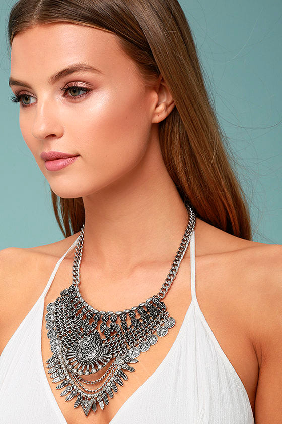 Moon Dance Silver Statement Necklace 1