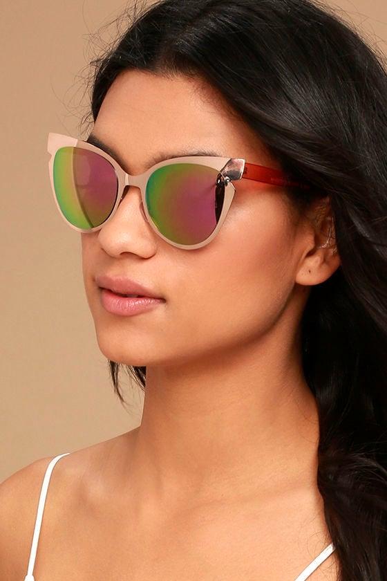 8941134f09 Chic Rose Gold Sunglasses - Mirrored Sunglasses - Cat-Eye Sunglasses -   18.00