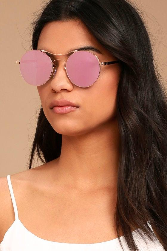 54e329a2e Cute Pink Sunglasses - Mirrored Sunglasses - Round Sunglasses - $17.00
