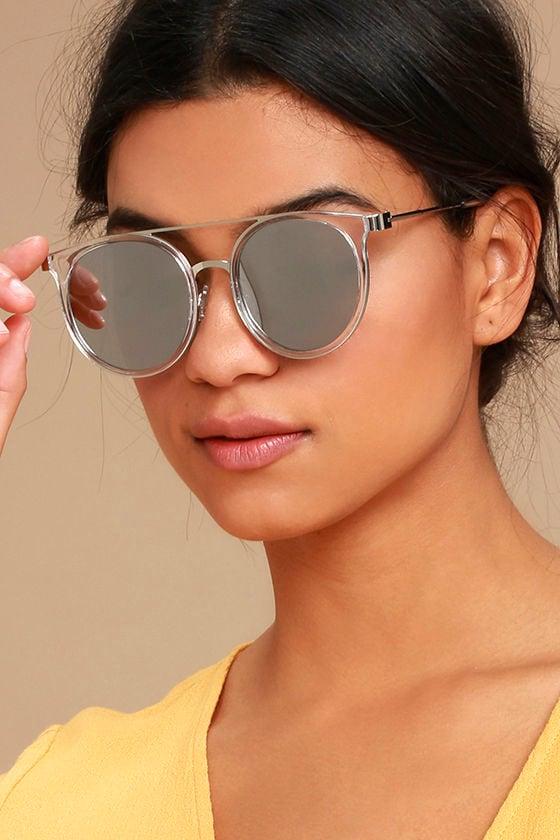 53263e82393 Trendy Mirrored Sunglasses - Silver Mirrored Sunglasses - Clear Frame  Sunglasses -  13.00
