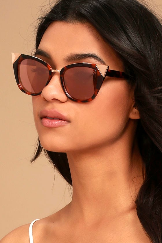 Modern Romance Tortoise and Pink Cat-Eye Sunglasses 1