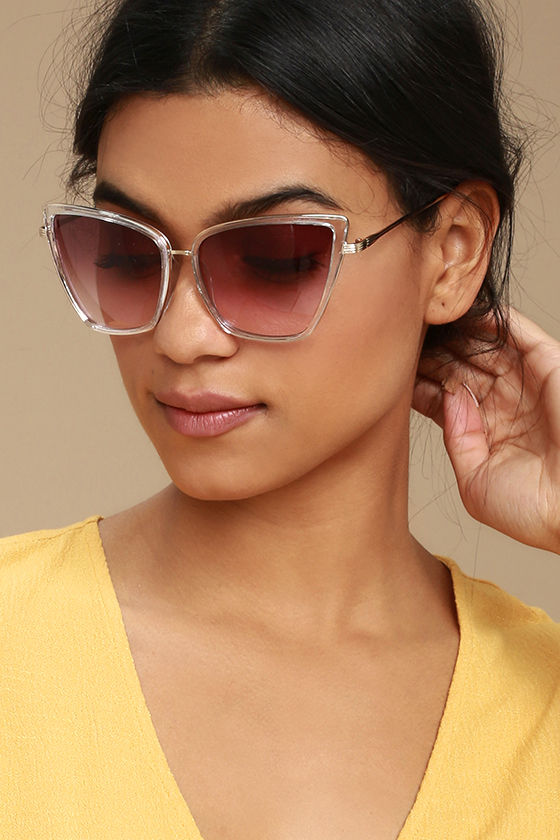Hamptons Honey Clear and Pink Cat-Eye Sunglasses 1
