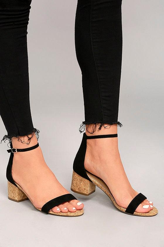 d23bda28825 Cute Black Cork Heels - Vegan Leather Ankle Strap Heels