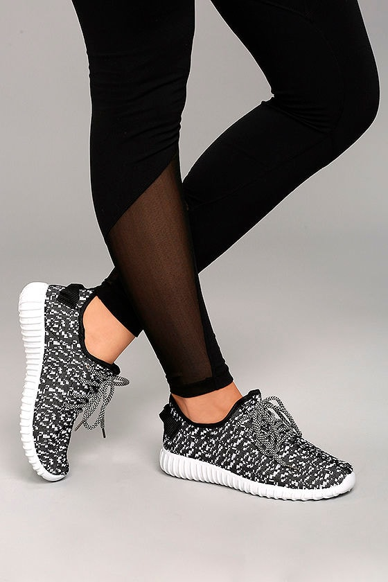 Creative Kick Black and White Knit Sneakers 2