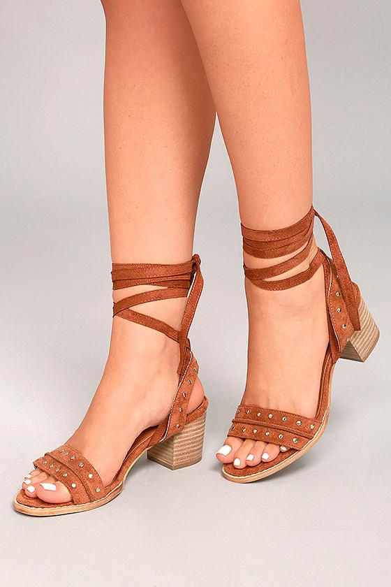 Mi.im Plush Brown Suede Lace-Up Heels 1