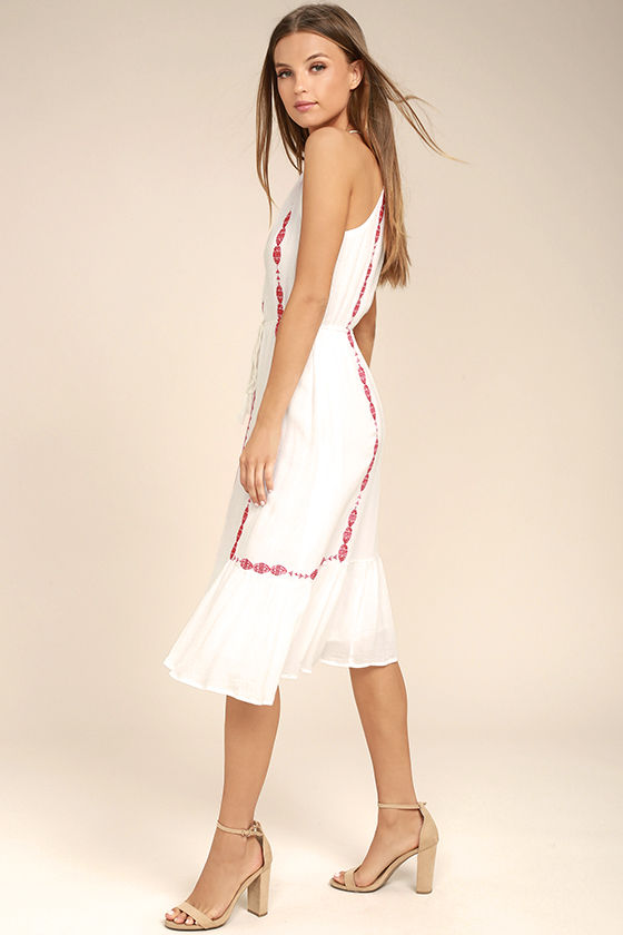 When You Smile White Embroidered Midi Dress 2