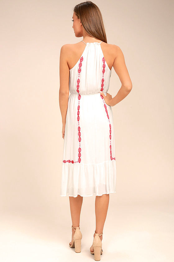 When You Smile White Embroidered Midi Dress 3