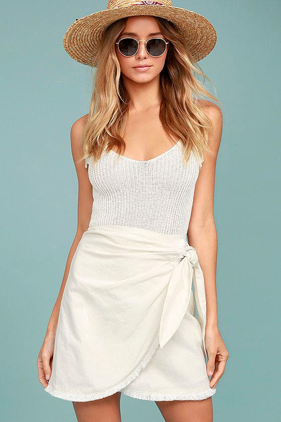 6bd09e70fd Chic Cream Skirt - Mini Skirt - Wrap Skirt - Tie-Front Skirt