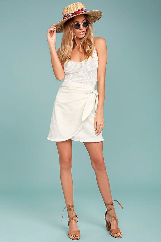 Marguerite White Mini Wrap Skirt 2