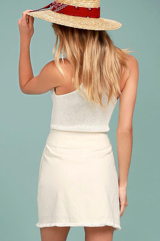 Marguerite White Mini Wrap Skirt 3