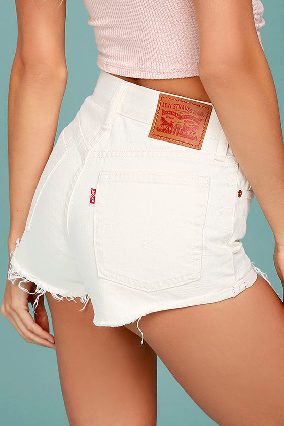 Levi's® Wedgie Fit Off-White Distressed Denim Shorts 3