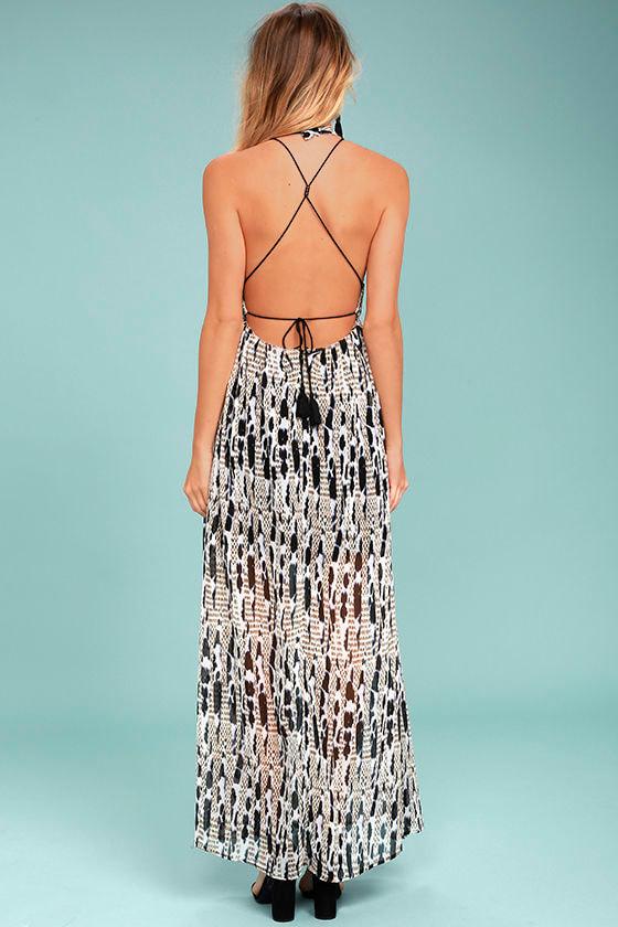 BB Dakota Willow Black Print Maxi Dress 3