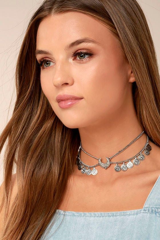 Hand Gathered Silver Layered Choker Necklace 3
