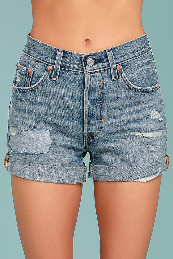 Levi's® 501 Medium Wash Distressed Long Denim Shorts 1