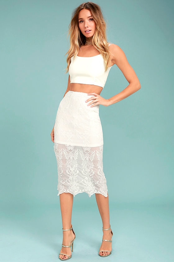 Swoon For You White Lace Midi Skirt 1