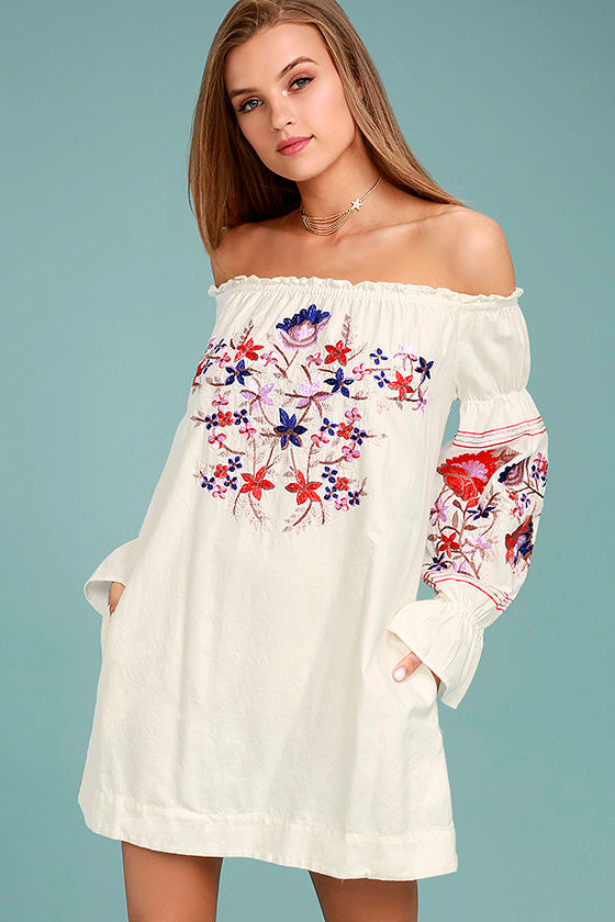 353f9dffdc2c8f Free People Fleur Du Jour - Cream Shift Dress - Embroidered Dress - Off-the-Shoulder  Dress