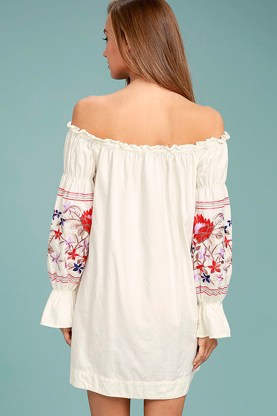 Free People Fleur Du Jour Cream Embroidered Dress 3