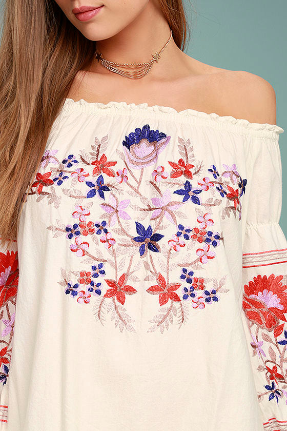 Free People Fleur Du Jour Cream Embroidered Dress 4