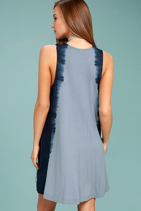 RVCA Sucker Puncher Blue Tie-Dye Swing Dress 3