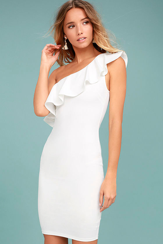 cute white dress oneshoulder dress bodycon dress 4600