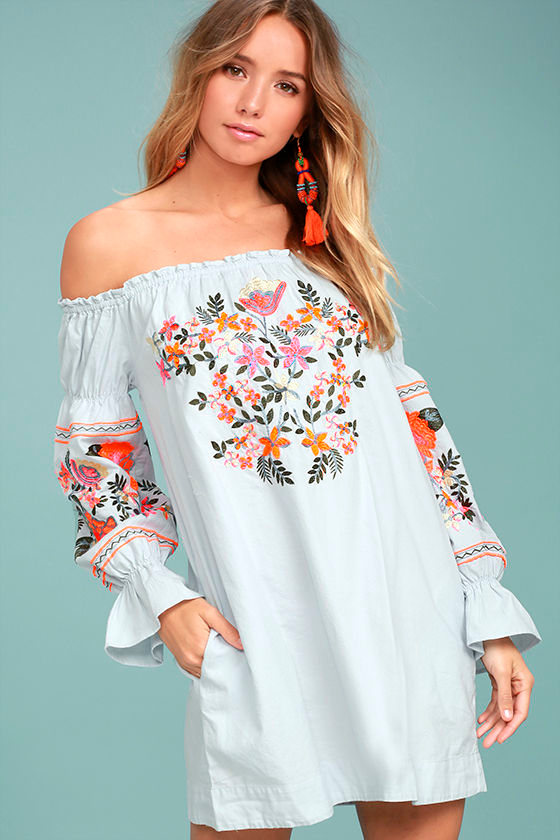 1478aab3a63cd Free People Fleur Du Jour - Light Blue Shift Dress - Embroidered Dress - Off -the-Shoulder Dress