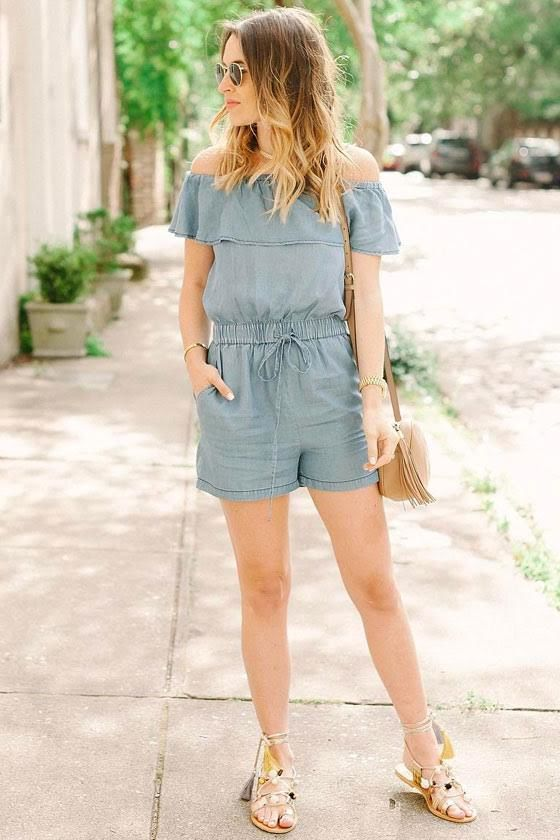 PPLA Colt Blue Chambray Off-the-Shoulder Romper 7