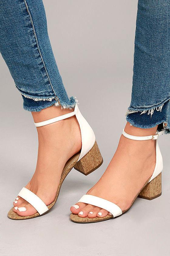 8d2720dbc5a Cute White Cork Heels - Vegan Leather Ankle Strap Heels