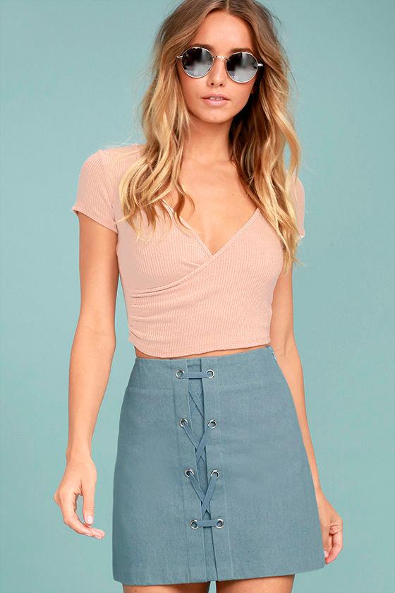 c1542d9895 Cute Blue Mini Skirt - Lace-Up Mini Skirt - A-Line Mini Skirt - High  Waisted Mini Skirt - $42.00