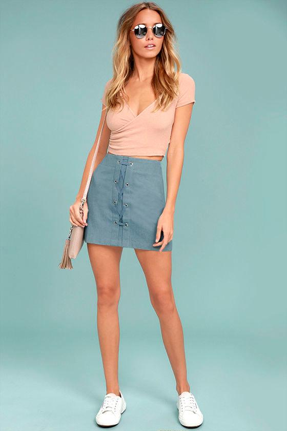 b5089c7134 Cute Blue Mini Skirt - Lace-Up Mini Skirt - A-Line Mini Skirt - High ...