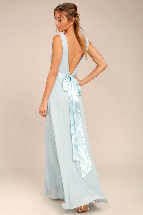 Stunning Light Blue Maxi Dress - Backless Maxi Dress - Gown - $82.00