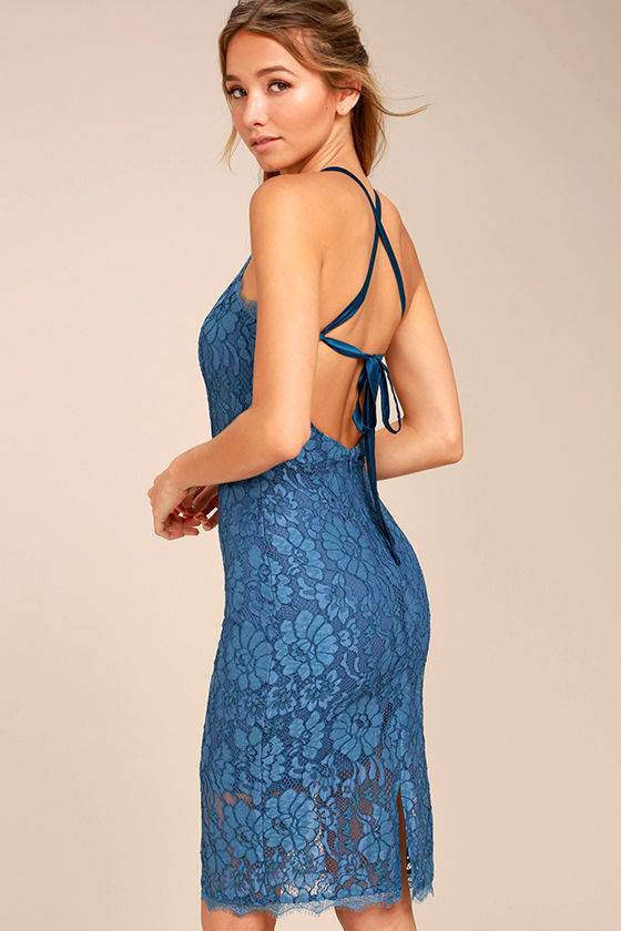 Wishful Wanderings Blue Lace Bodycon Midi Dress 3