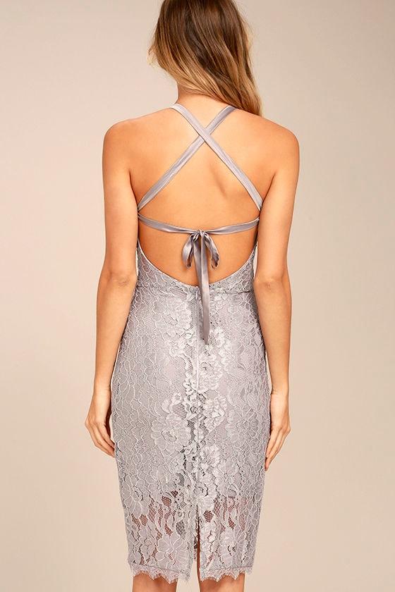 Wishful Wanderings Grey Lace Midi Bodycon Dress 4