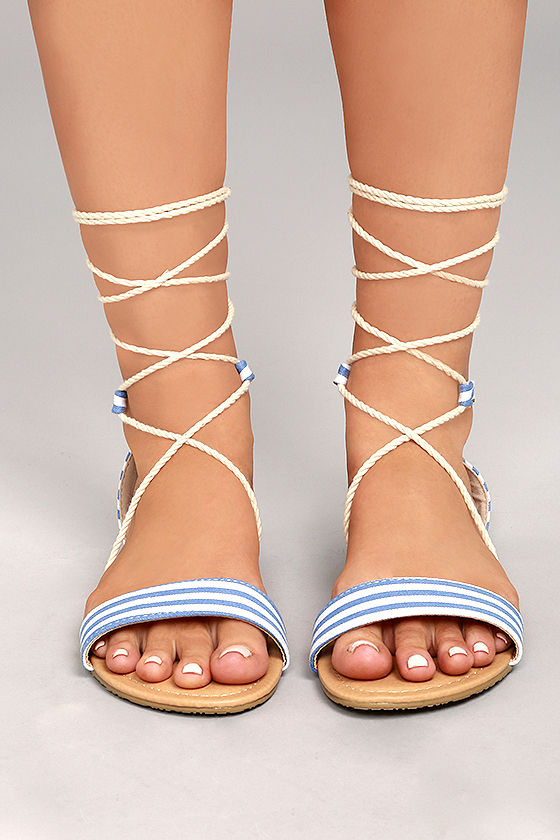 231dc0c0b Cute Flat Sandals - Lace-Up Sandals - Blue and White Striped Sandals ...