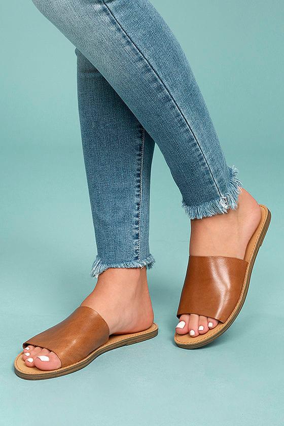 7e95441e750 Steve Madden Grace Cognac Sandals - Leather Slide Sandals - Brown ...