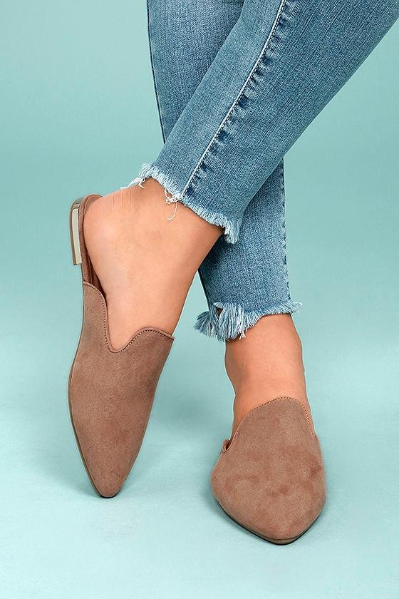 Trendy Camel Loafer Slides - Vegan Suede Loafers -Slide-On Loafers -  27.00 b785f7990