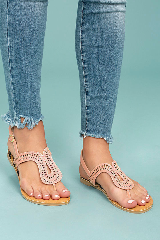 Libby Blush Pink Nubuck Thong Sandals 4