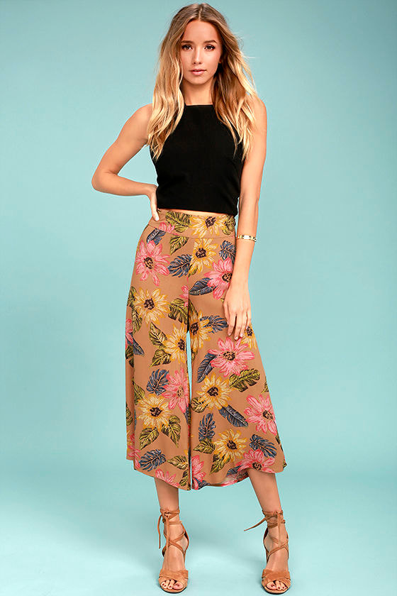 Billabong Can It Be Light Brown Floral Print Culottes 1