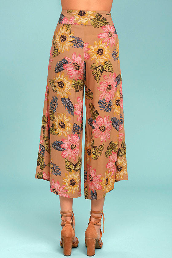Billabong Can It Be Light Brown Floral Print Culottes 4