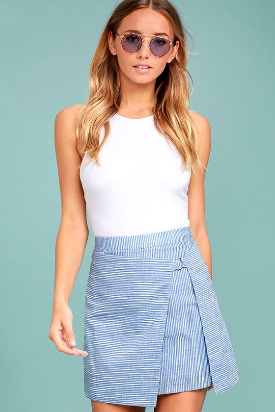 Cute Blue and White Striped Skirt - Wrap Skirt - Mini Skirt - $42.00
