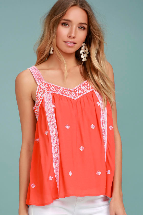 Moon River Day Trip Coral Orange Embroidered Sleeveless Top 1